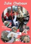 sur fond de couleur, plusieurs vues de julie chebaux avec ses animaux et les patient dans les pavillons de l'hopital marin de hendaye