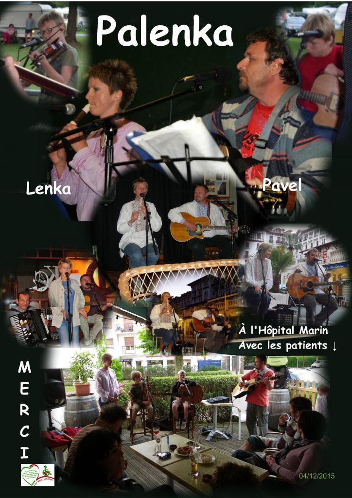 sur fond noir, plusieurs vues du groupe palenka en concert et à l'hopital marin de hendaye