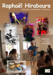 Sur fond de couleur, plusieurs photos de Raphael Hiraboure en concert et à l'hopital marin de hendaye