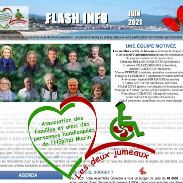 bandeau titre : flash info juin 2021 avec une photo de portraits groupés des principaux membres et en grand le logo de notre association